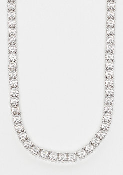 King Ice Single Row CZ Pharaoh rhodium plated - size: 4mm breed/76cm lang