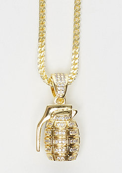 King Ice CZ Hand Grenade necklace Gold Überzug