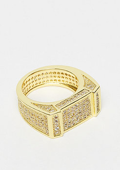 King Ice Rectangle CZ Ring Gold Überzug - Größe 7