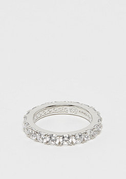 King Ice 925er Sterling Silver Single Row Ring rhodium plated - size 9