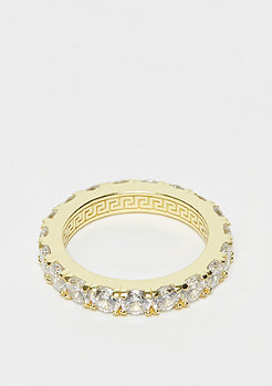 King Ice 925er Sterling Silver Single Row Ring Gold plated - size 7