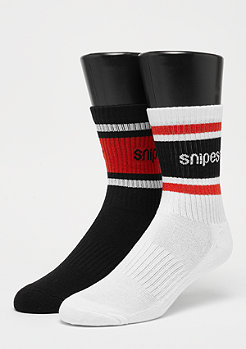 SNIPES 2er Crew Sock white/black/red