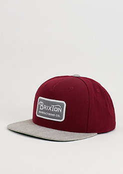Brixton Snapback-Cap Grade burgundy/heather grey