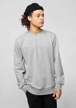 Sweatshirt Script Embroidery grey heather/white