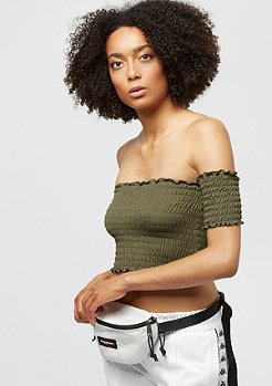Urban Classics Ladies Cropped Cold Shoulder Smoke Top olive