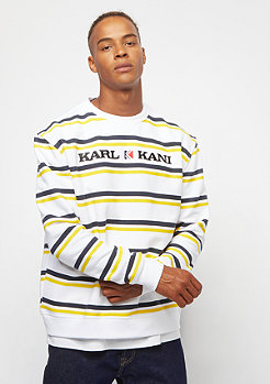 Karl Kani Retro Stripe Crew white navy yellow
