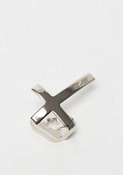 King Ice Cross Single Grillz rhodium plated - zilverkleurig