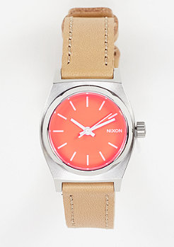 Nixon Uhr Small Time Teller Leather bright coral/natural