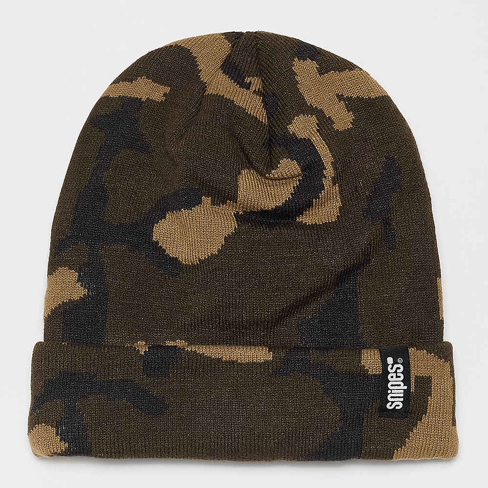 34e4d46440681 Gorro de lana con etiqueta corporativa y estampado de camuflaje de SNIPES