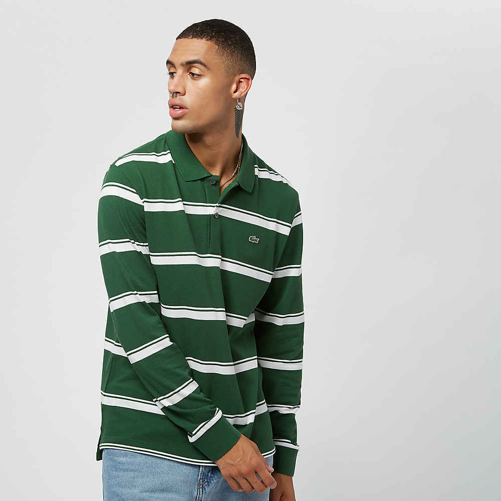 98d10be7d3 Commander Lacoste Long sleeved ribbed collar shirtgreen/flour chez SNIPES