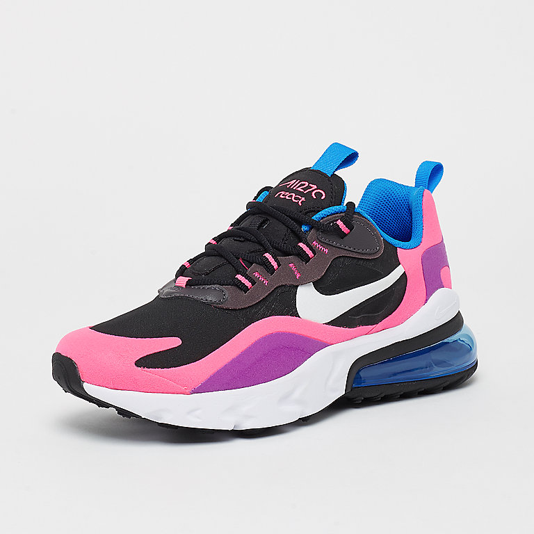 Air Max 270 React (GS) blackwhitehyper pinkvivid purple